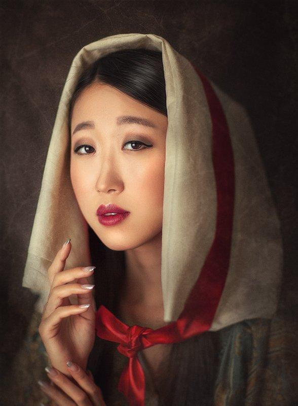 портрет, кореянка, япония, крупный план, выразительный портрет, картина  Анитаphoto preview