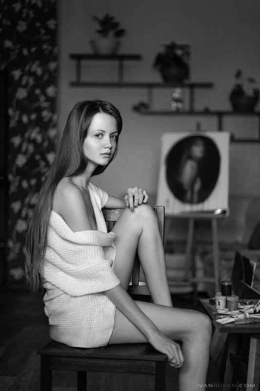 девушка, картина, художник portrait à domicilephoto preview