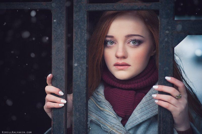 девушка, портрет, снег, грусть sorrowphoto preview