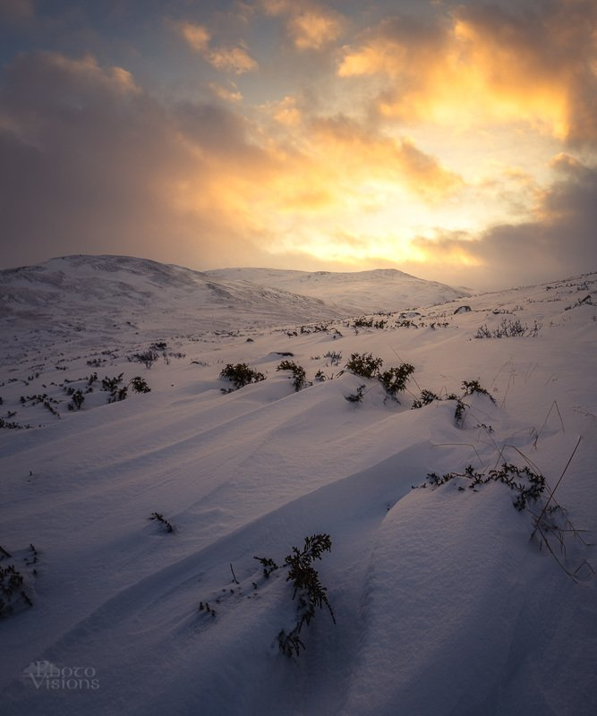 dovre,dovrefjell,norway,norwegian,mountains,snow,snowy,winter,wintertime,sunset Towards the sunphoto preview