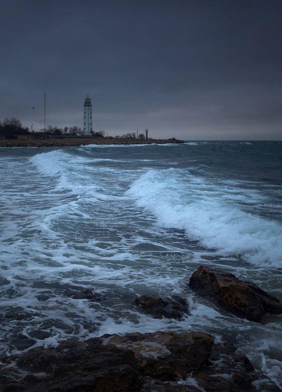 севастополь, крым, херсонес, казачка, пейзаж, маяк, шторм Непогодаphoto preview