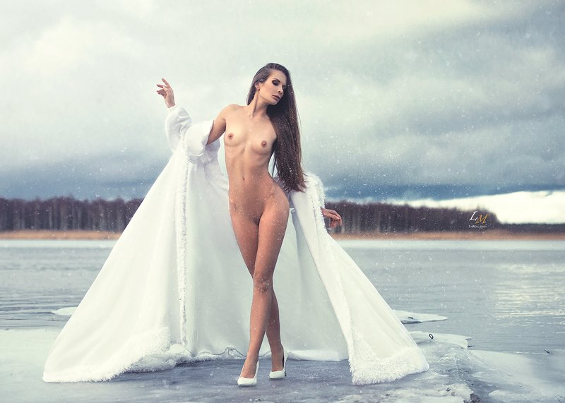 арт, арт ню, зима, снег, озеро, селигер, лёд, ню, пленэр, фотовыезд Snow queenphoto preview