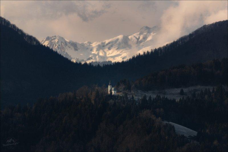 Словения, зима, Slovenia, winter, church, церковь, часовня O N Ephoto preview