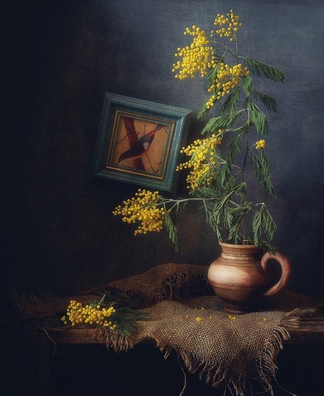 натюрморт,цветы,мимоза,весна весна.... фото превью