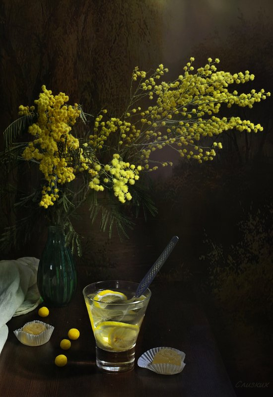 натюрморт,композиция,свет,весна,букет,мимоза,лимон Если мимоза,  то  весна  уже пришла...photo preview