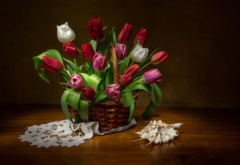 натюрморт, тюльпаны, ракушка С праздником, девченки и милые дамы! фото превью