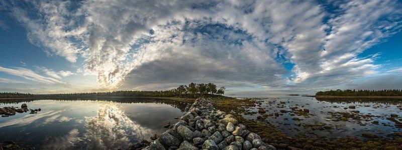 соловки, соловецкие острова, белое море, филипповские садки, вода, остров, ник васильев, красота, море, панорама, небеса, отражение, зеркало Над Белым морем.photo preview