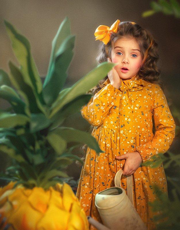 дети, детский портрет, желтое платье, детская фотография, артфотография  Урожайphoto preview