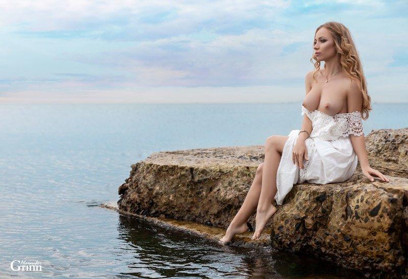 море, ню, фото, девушка, камень ***photo preview