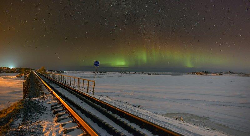 архангельская обасть, ночное фото. млечный путь, русский север северное сияние photo preview