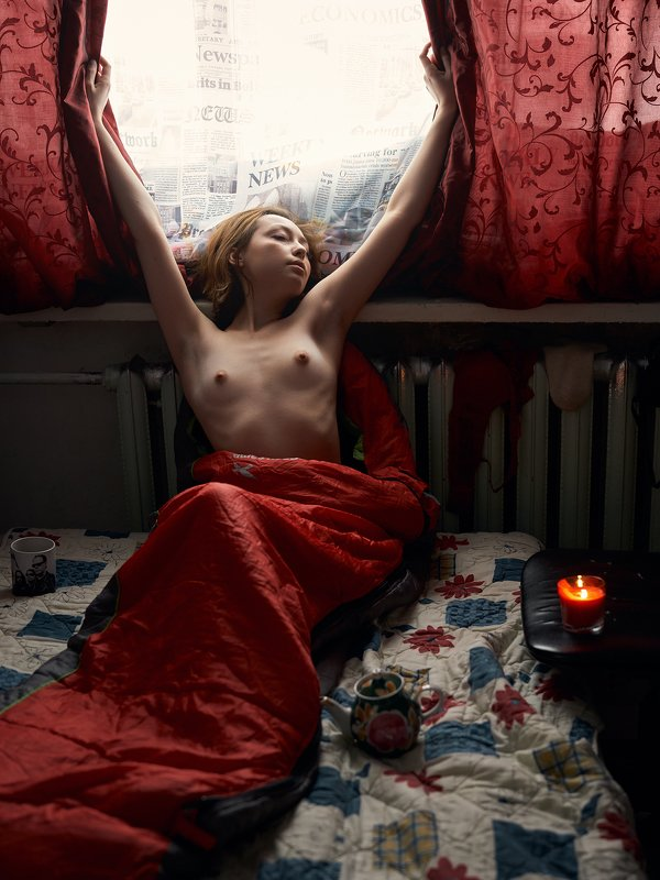 girl, at home, natural light, nude, naked, red, morning, ufa, russia Annphoto preview