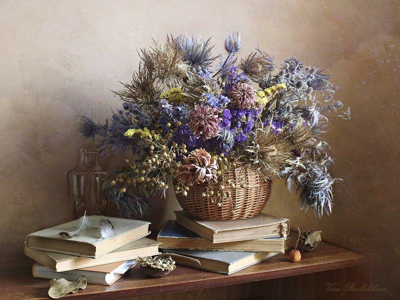 натюрморт,книги,сухоцветы,вера павлухина, Книжный натюрморт .photo preview
