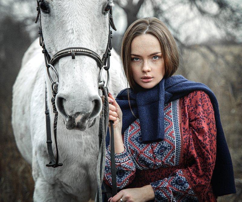 девушка, лошадь, природа photo preview