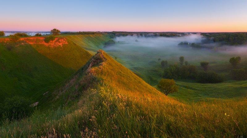 утро, пейзаж, рассвет, холмы, долина, туман, разлив, цвет, morning, summer, fog, dawn, sunrise, panorama, hills, valley, colors, mood, light, nature, landscape ***photo preview