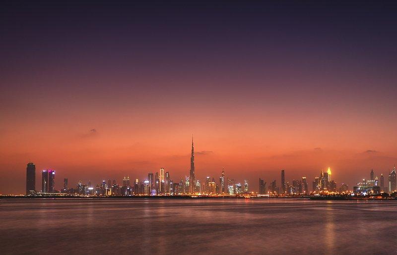 sunset, dubai, creek, watherfront, architecture, design, sky, skyscreeper Sunset in Dubai Creekphoto preview