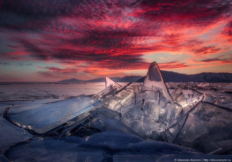 Байкал, лед, закат photo preview