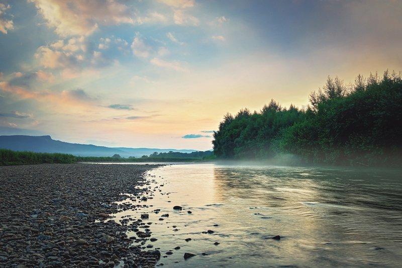 Река, пейзаж, закат Закат в долинеphoto preview