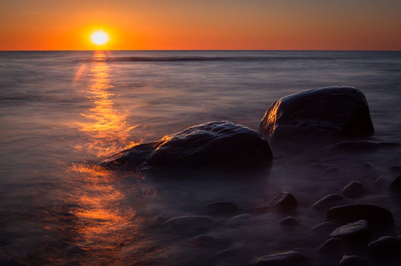 sunset,sea,stones,landscape,seascape,dark,orange, Sunset for twophoto preview