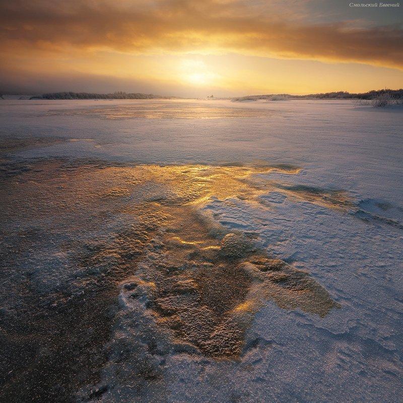 река, рассвет, зима, лед, снег, северная двина, вологодская область. Морозное утро на рекеphoto preview