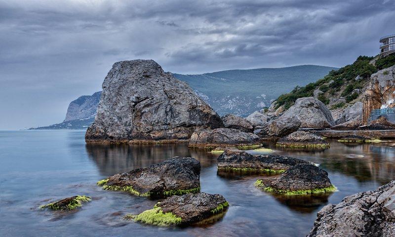 пейзаж,море,вечер,камни,сумерки Большие камни.photo preview