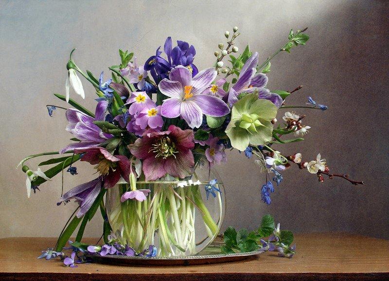 весна, натюрморт, букет цветов, первоцветы, марина филатова Весна цветы неспешно собираетphoto preview