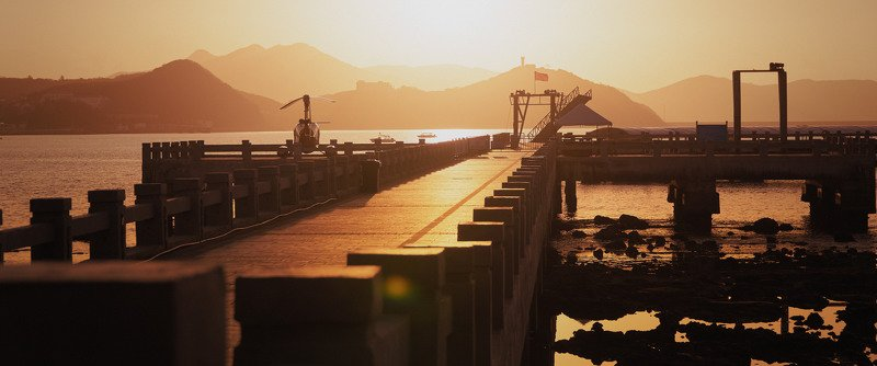pier, sunrise, sun, helicopter, mountains, sea, china, cinematic, cine, colors, colorgrading, colorgrade Sunrise at the pierphoto preview