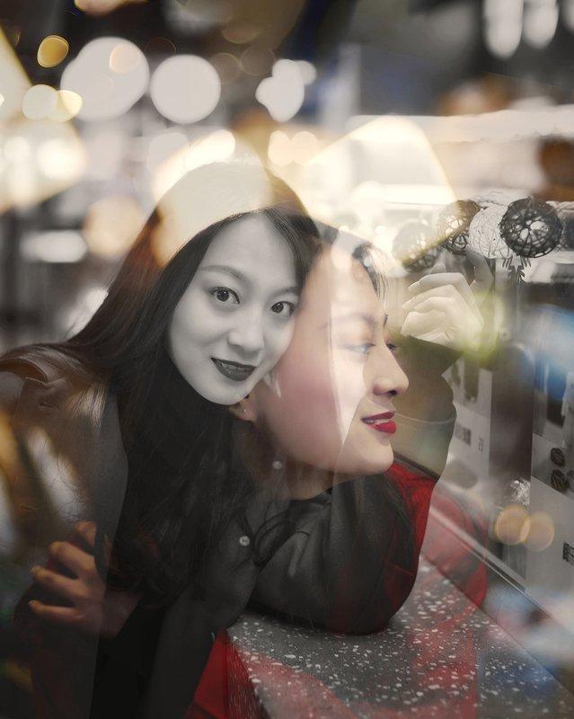 night, fashion, mood portrait, female portrait, multi-exposure multi-exposurephoto preview