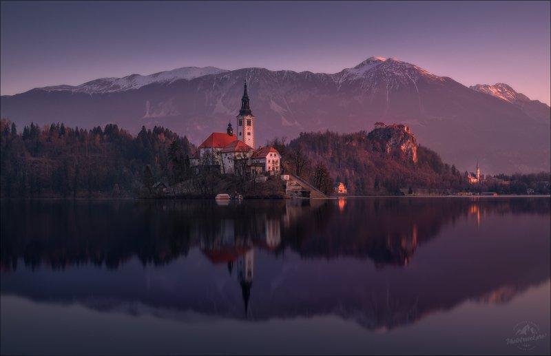 словения, slovenia, озеро блед, slovenia, bled, зима Блед, предрассветное ..photo preview