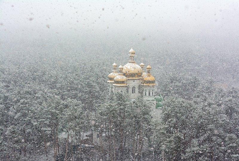 landscape, пейзаж, снег, церковь, лес, снег пошел.photo preview