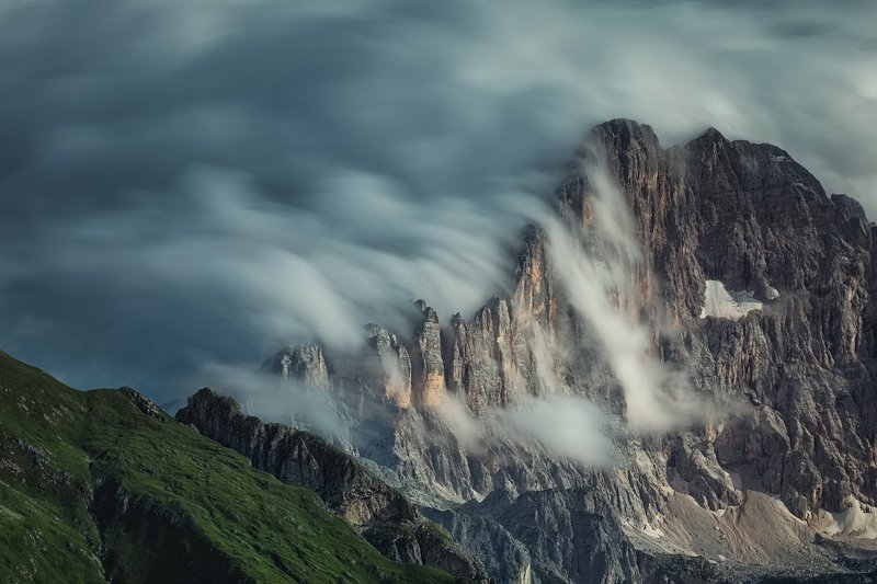 mountains, dolomites, italy, sunset, landscape, nature, travel, summer, peak, clouds Clouds Attackphoto preview