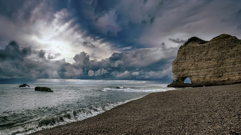 пейзаж,берег,океан,скалы,небо,облака Пасмурный день.photo preview