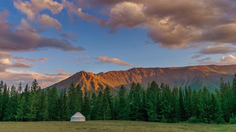 лето, горы, облака, закат,Горный Алтай  Про белую юрту. photo preview