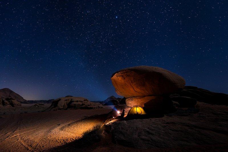 wadi rum, jordan, stars, tent, rock, desert,  Wadi Rum nightphoto preview