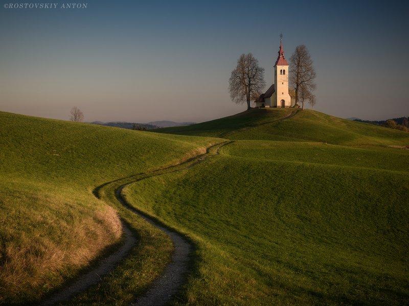 Словения, закат, дорога, церков, фототур, на закатеphoto preview