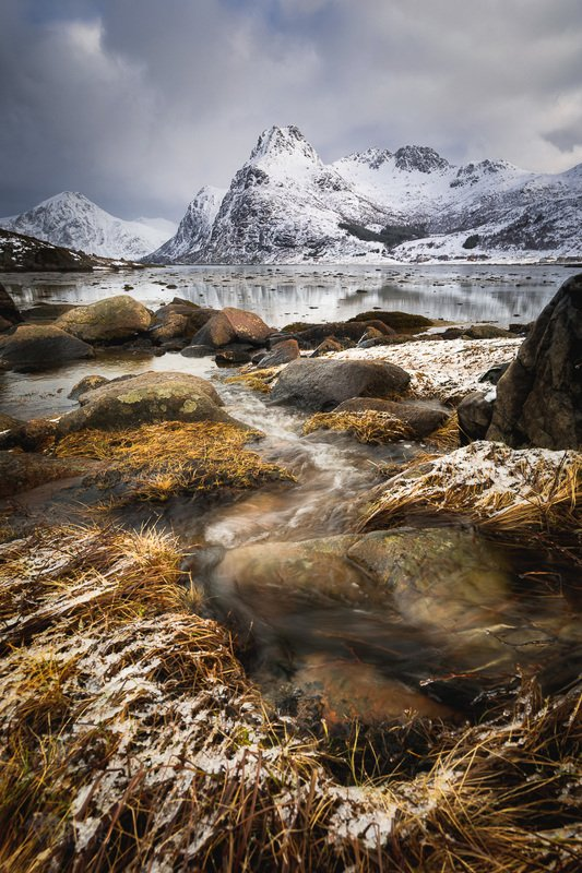 lofoten,norway,winter,shore,flakstadpollen,snow,mountains, Lofoten winterphoto preview