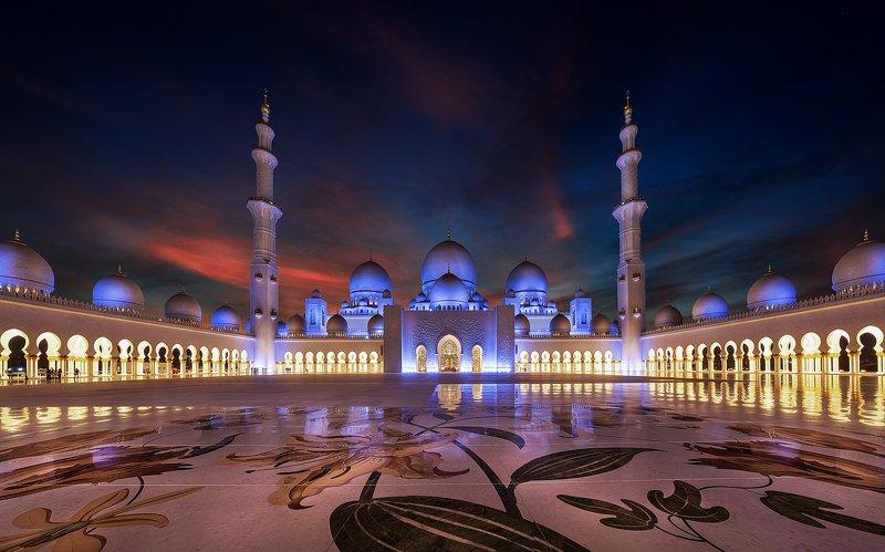 mosque, uea, sky, sunset, dubai, no people, muslim, sky Sheikh Zayed Grand Mosquephoto preview
