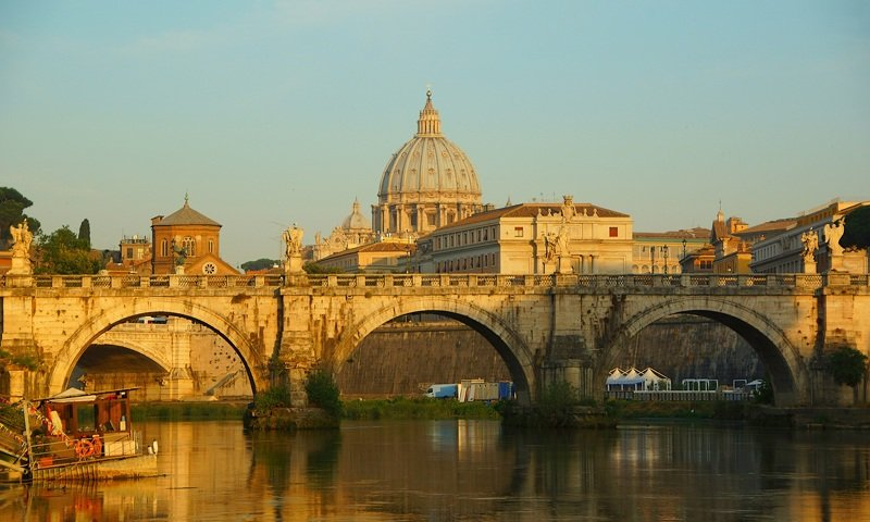 morning, city, summer, bridge, river, castle, architecture, fortress, sky, sun, light Morning of St. Angelphoto preview