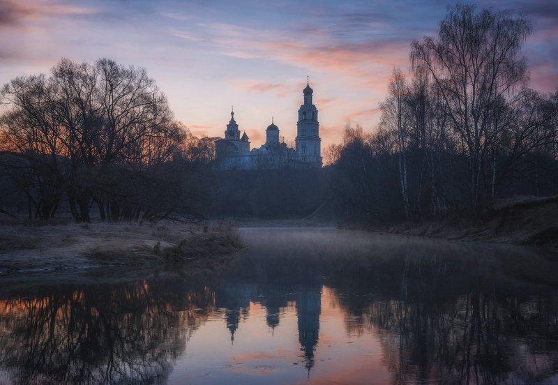 утро, киржач, весна, пейзаж, монастырь Киржачphoto preview