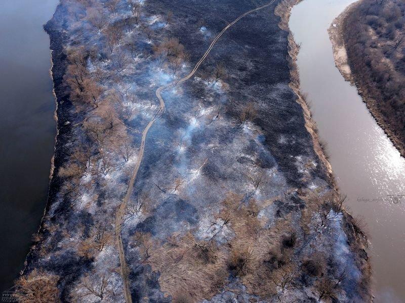 аэросъемка, мавик про, аэро, квадрокоптер, пал травы, пожары Горящая земляphoto preview