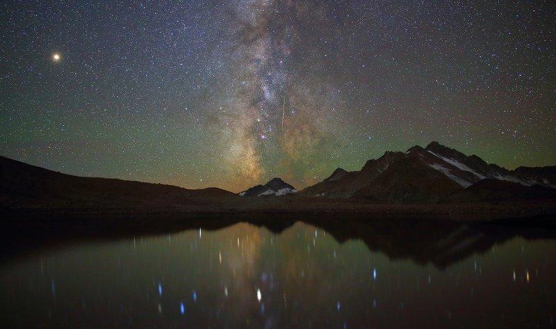 ночь эльбрус ночной пейзаж астрофотография звезды созвездия Звезды Эльбрусаphoto preview