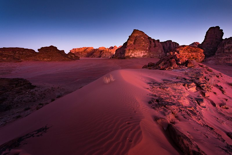 desert, wadi rum, jordan, sand, dune, pink hour, blue hour, mountains, nature Wadi Rumphoto preview