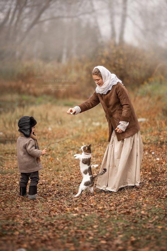 дети, мальчик, художественная фотография, природа, деревня, детская, ретро, кот, фото с животными, животные Дрессировщикиphoto preview