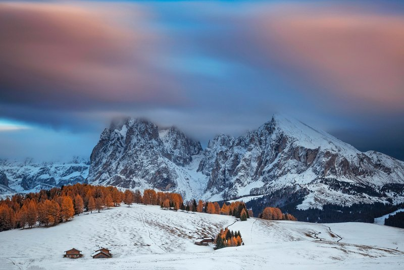 mountains, dolomites, italy, sunset, landscape, nature, travel, autumn, peak, clouds Fusion Between Seasonsphoto preview