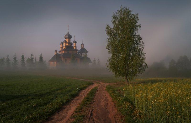 утро, туман, дорога, весна, церковь Весенней дорогойphoto preview
