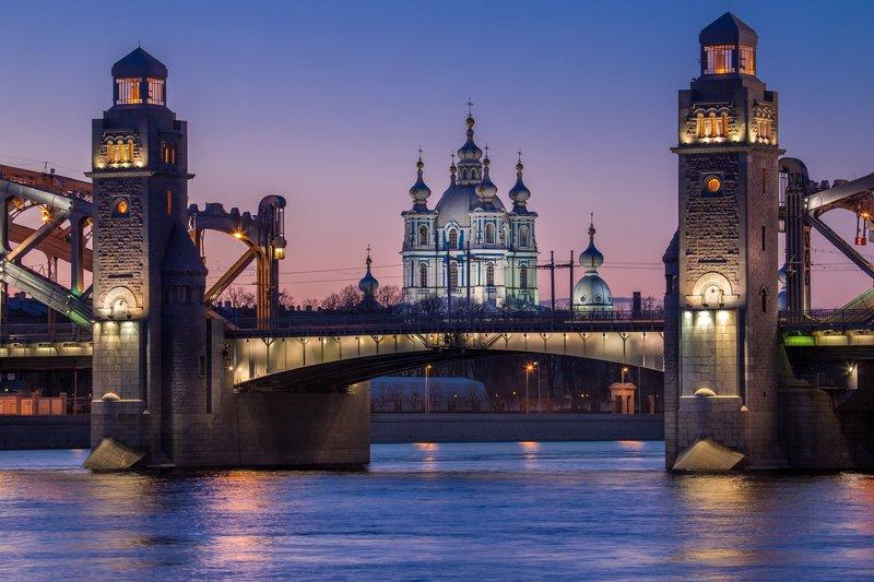санкт-петербург, мост, закат, большеохтинский, смольный. Большеохтинский мост на закате.photo preview