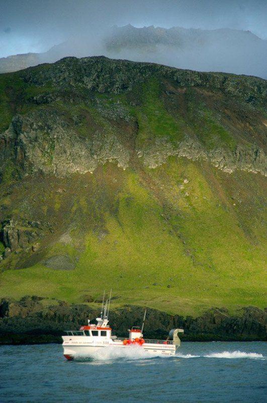 исландия, горы, море, лодка photo preview