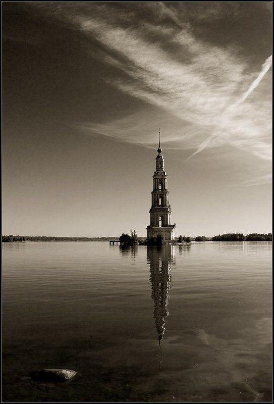 калязин, волга, рассвет, колокольня, небо Плывущая на волнахphoto preview