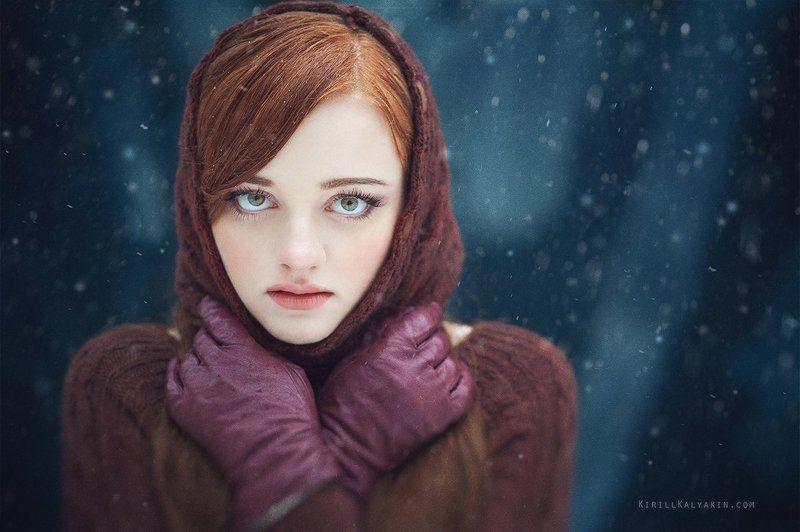 девушка, портрет, снег, зима, перчатки Sorrow v3photo preview
