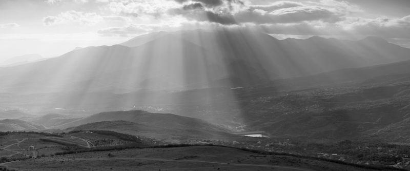 крым, лучистое, демерджи, панорама, лучи, солнце Лучистое.photo preview