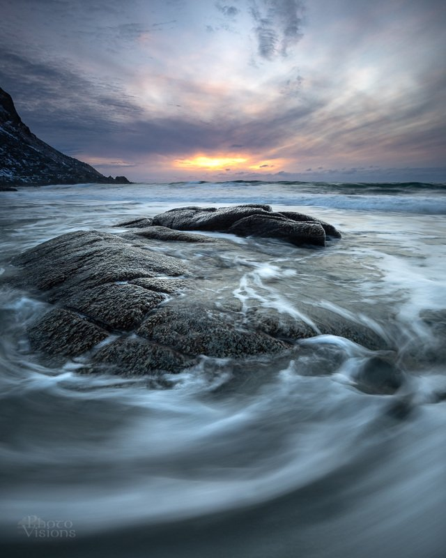 sunset,utakleiv,lofoten,norway,norwegian,winter,beach,rock,shore,sea,water,wave Catching the wavesphoto preview